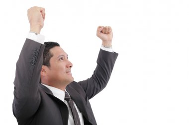 Portrait of a energetic young business man enjoying success- Iso
