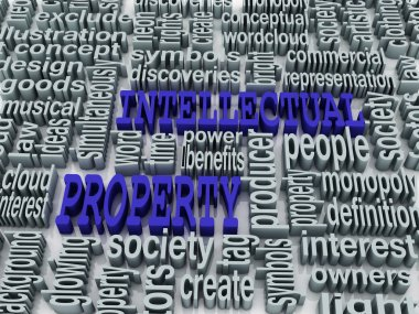 3d collage of Intellectual property and related words