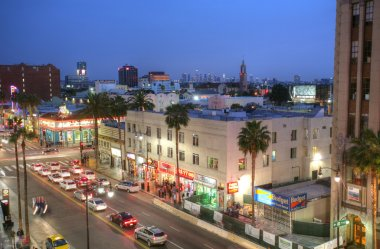 LOS ANGELES - FEB 9, 2014: View of Hollywood Boulevard in sunset