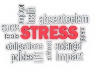 3d imagen concept wordcloud illustration of work stress