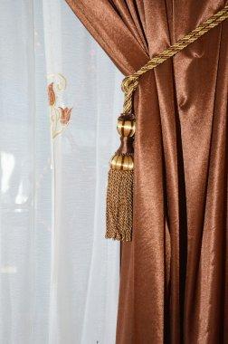 brown silk curtain