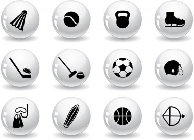 Web buttons, sport equipment icons