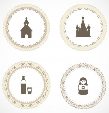 Vintage labels with icons