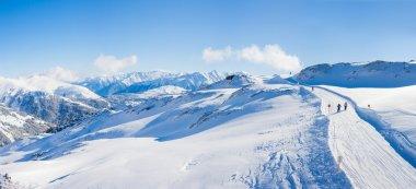 Winter landscape - Panorama of the ski resort Zell am Ziller, Tirol, Austria stock vector