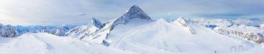 Winter landscape - Panorama of the ski resort Zillertal Hintertuxer Glacier, Tirol, Austria stock vector