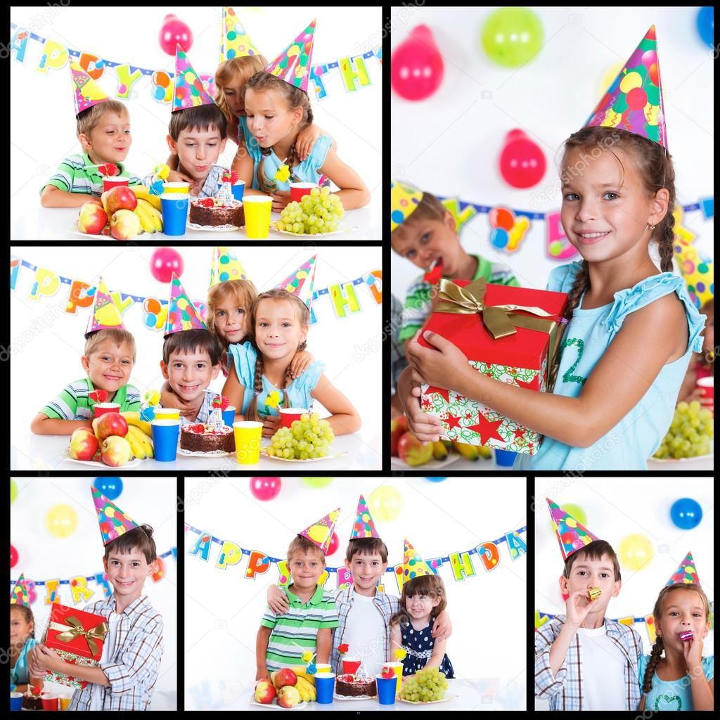 Kids with birthday cake stock photo mac sim 32871031 for Collage foto online gratis italiano