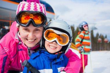 Skiing, winter, family