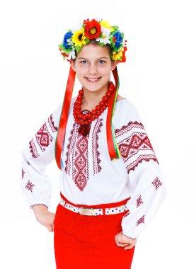 Girl wears Ukrainian national dress