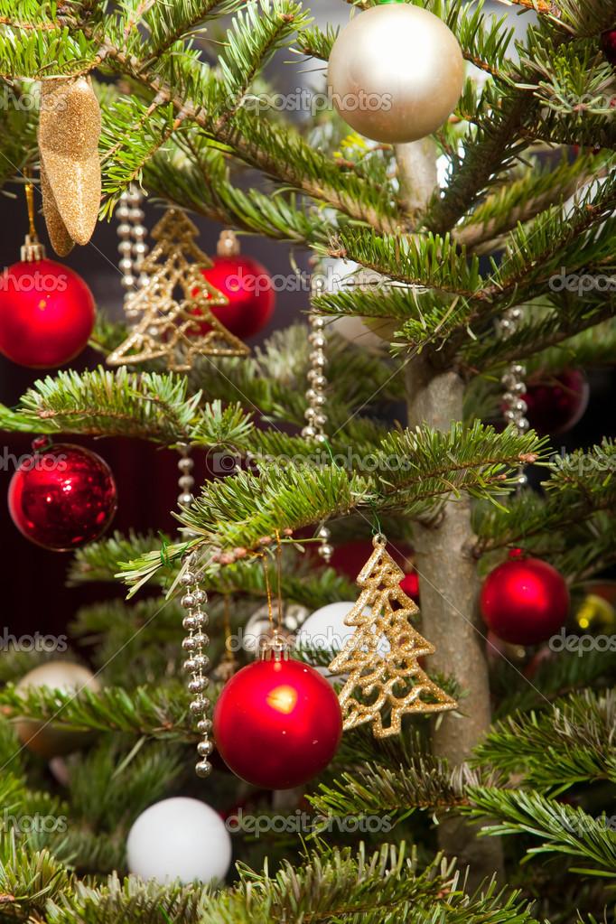 Рождественская елка украшенная золотом и красные шары ...: http://ru.depositphotos.com/16234349/stock-photo-christmas-fir-tree-decorated-with.html