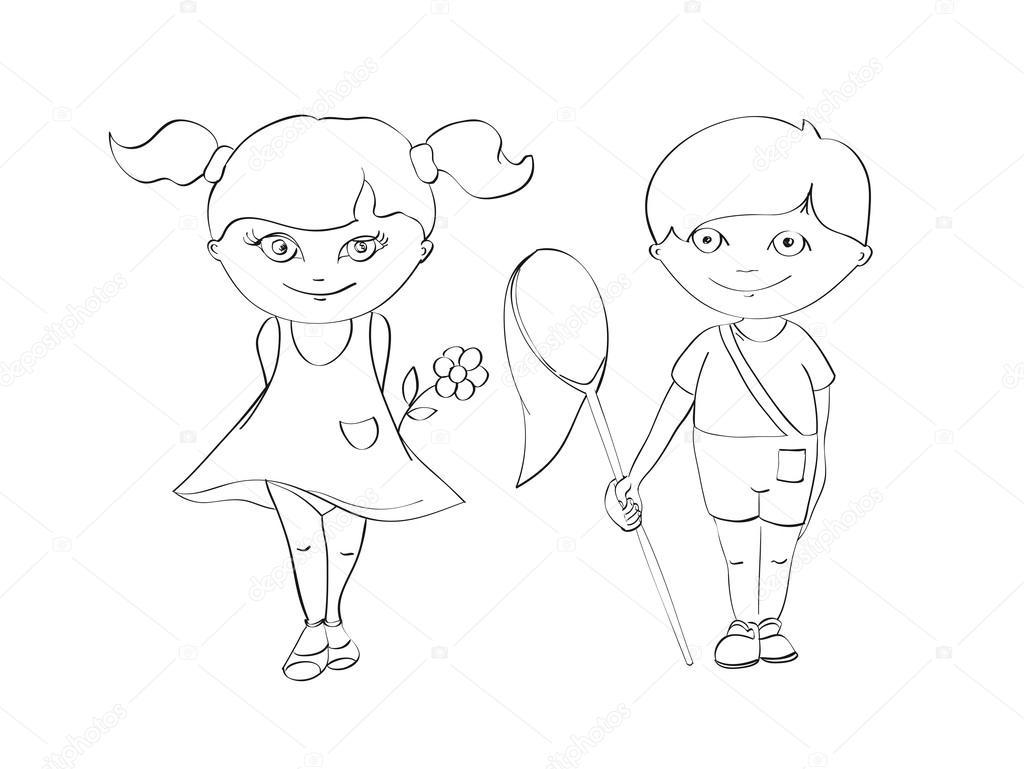 Net Ile Erkek Ve Kız çiçek Boyama Beyaz Zemin üzerine Dağılımı