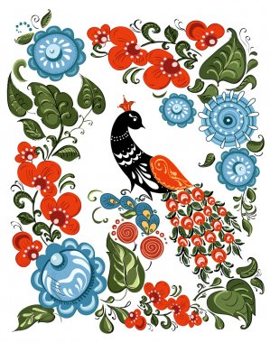 Illustration with flowers and bird in the Russian traditional style (Gorodets) on isolated white