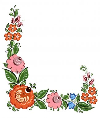 Decorative corner element in Russian traditional style
