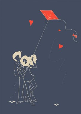 Guy and girl in love fly a kite