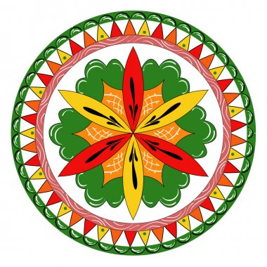 Russian traditional ornament with flowers of Severodvinsk region