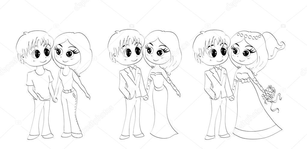 Vector: anime eps | 3 los contornos para colorear de personajes de ...