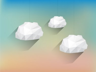 Low poly Clouds with Long Shadow on Blurred Background