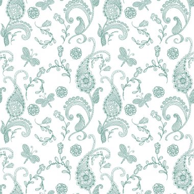 Doodle seamless paisley pattern