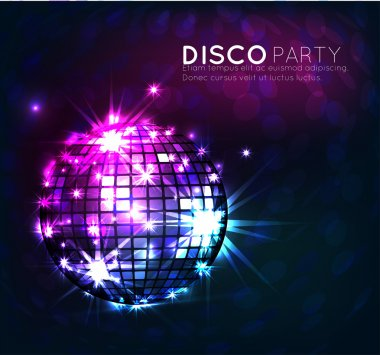 Background with disco ball, banner