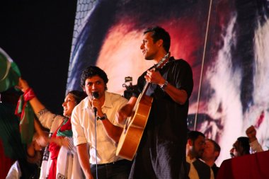 Strings Musical Group Performing at a political Rally