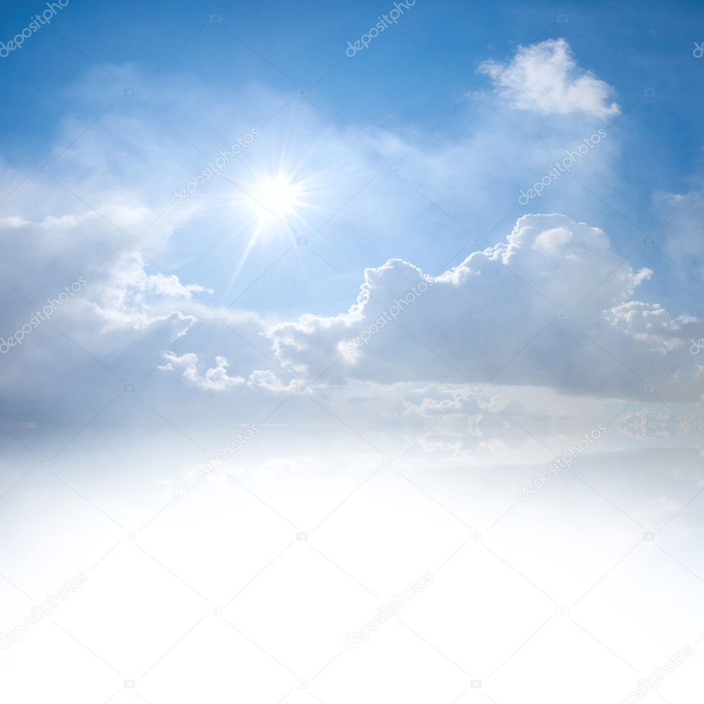 Blue sky with clouds and place for text