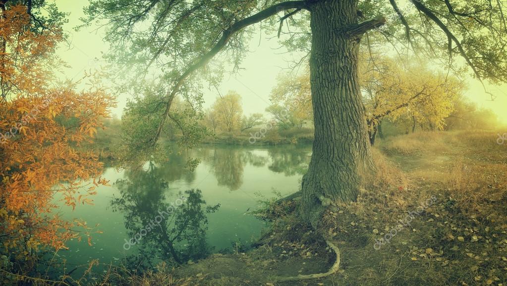 Vintage autumn landscape river