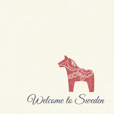 Welcome card with swedish wooden Dala horse