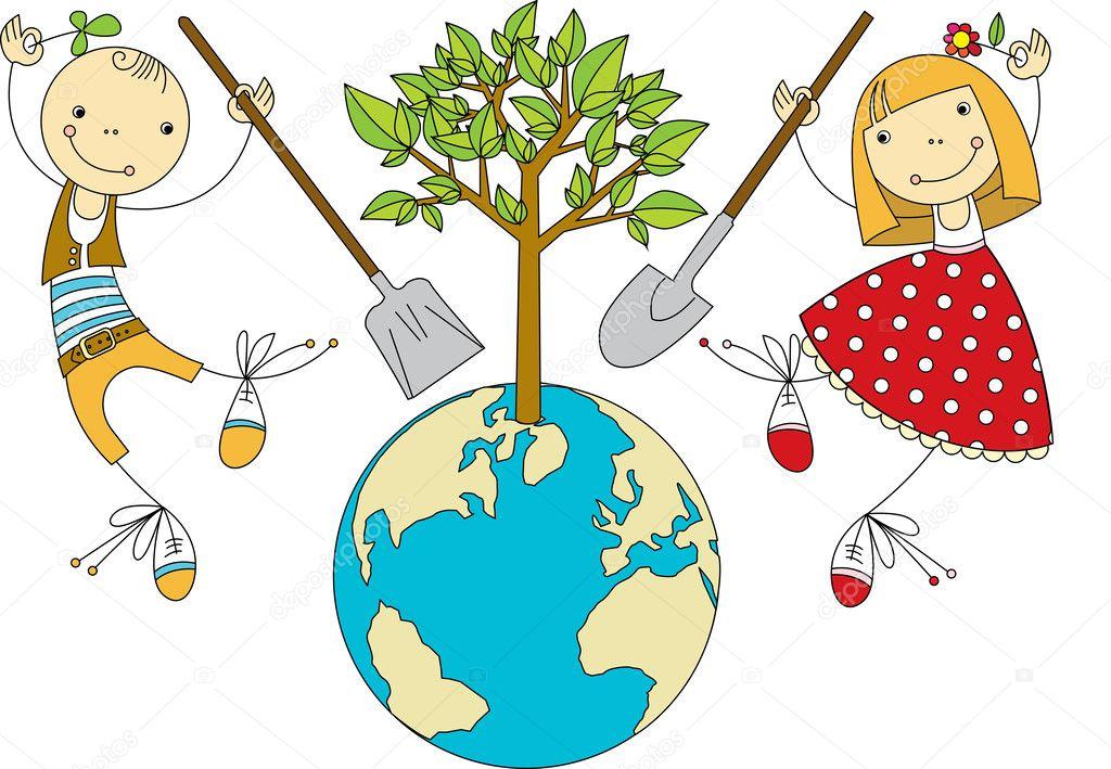 Planta de niños para el planeta — Ilustración de Stock