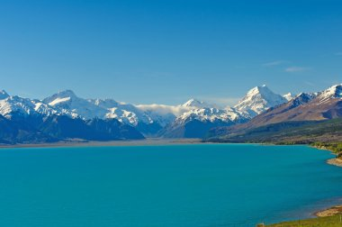 Snow covered mountains above a Glacial Lake