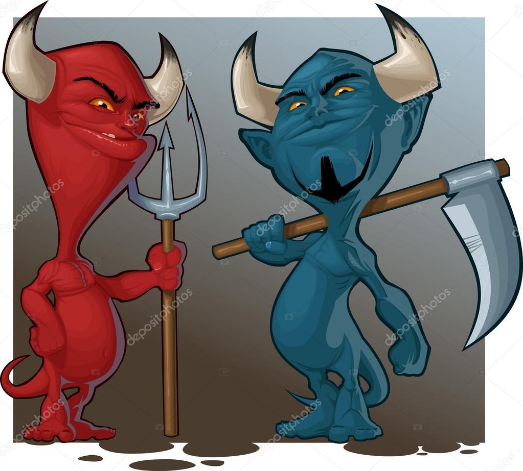 Пара мультяшных демонов — стоковый вектор