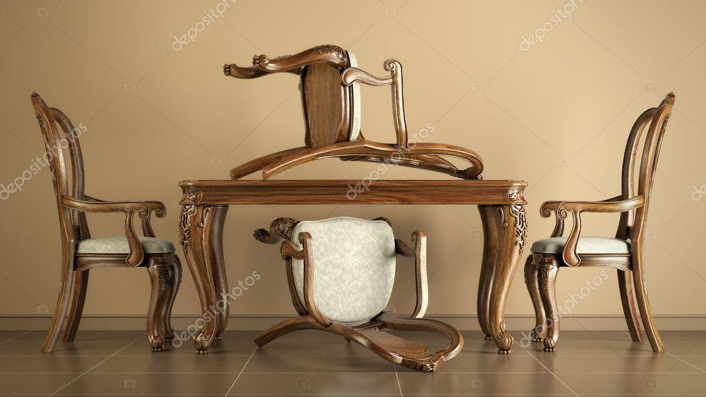 Tavoli Da Pranzo Antichi : Tavolo e sedie da pranzo antiche riproduzione u foto stock