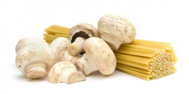 Pasta and mushrooms on a white background