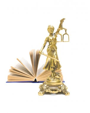 statue of justice and open book isolated on white background