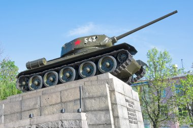 Russia. T34 tank - a monument to the heroes of the Great Patrio