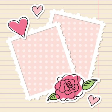 Photo frames, rose and hearts of paper clip art vector