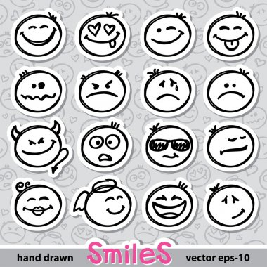 Set of hand drawn smiles on realistic paper stickers stock vector