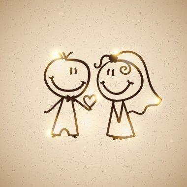Hand drawn wedding couple on realistic textured cardboard, vector eps 10 stock vector