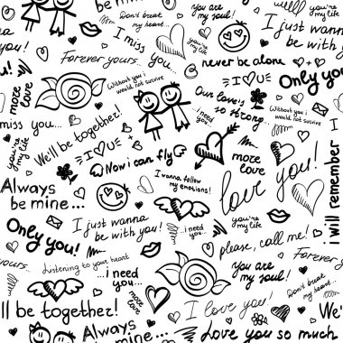Hand drawn seamless pattern with inscriptions about love stock vector