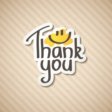 Thank You text on paper sticker, vector illustration clip art vector