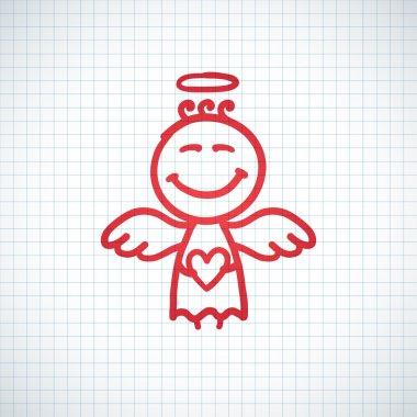 Hand drawn angel with heart, vector illustration clip art vector