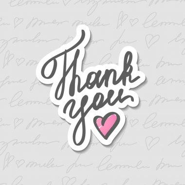 Thank you, vector handwritten text with heart clip art vector