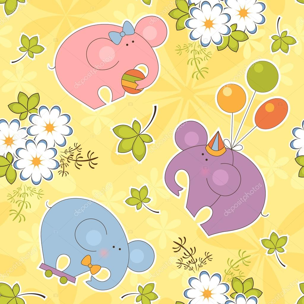 Colorful kids background with the elephants — Stock Vector © Aura ...