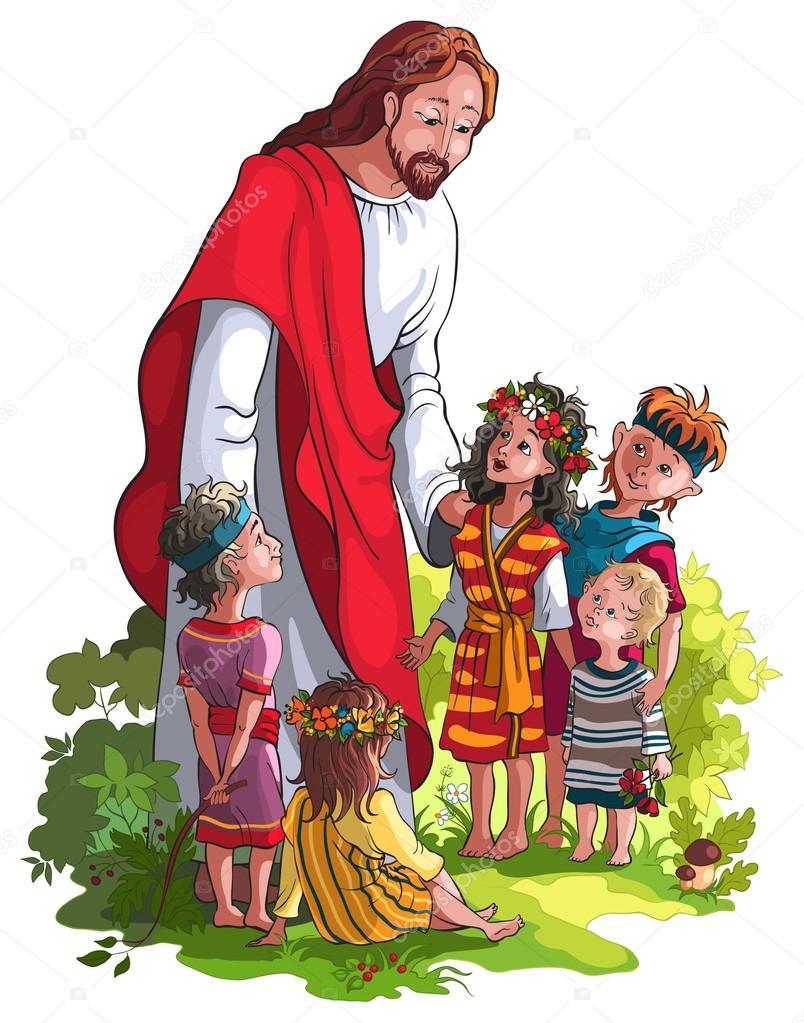 jezus en kinderen ge 239 soleerd op wit stockvector 169 aura