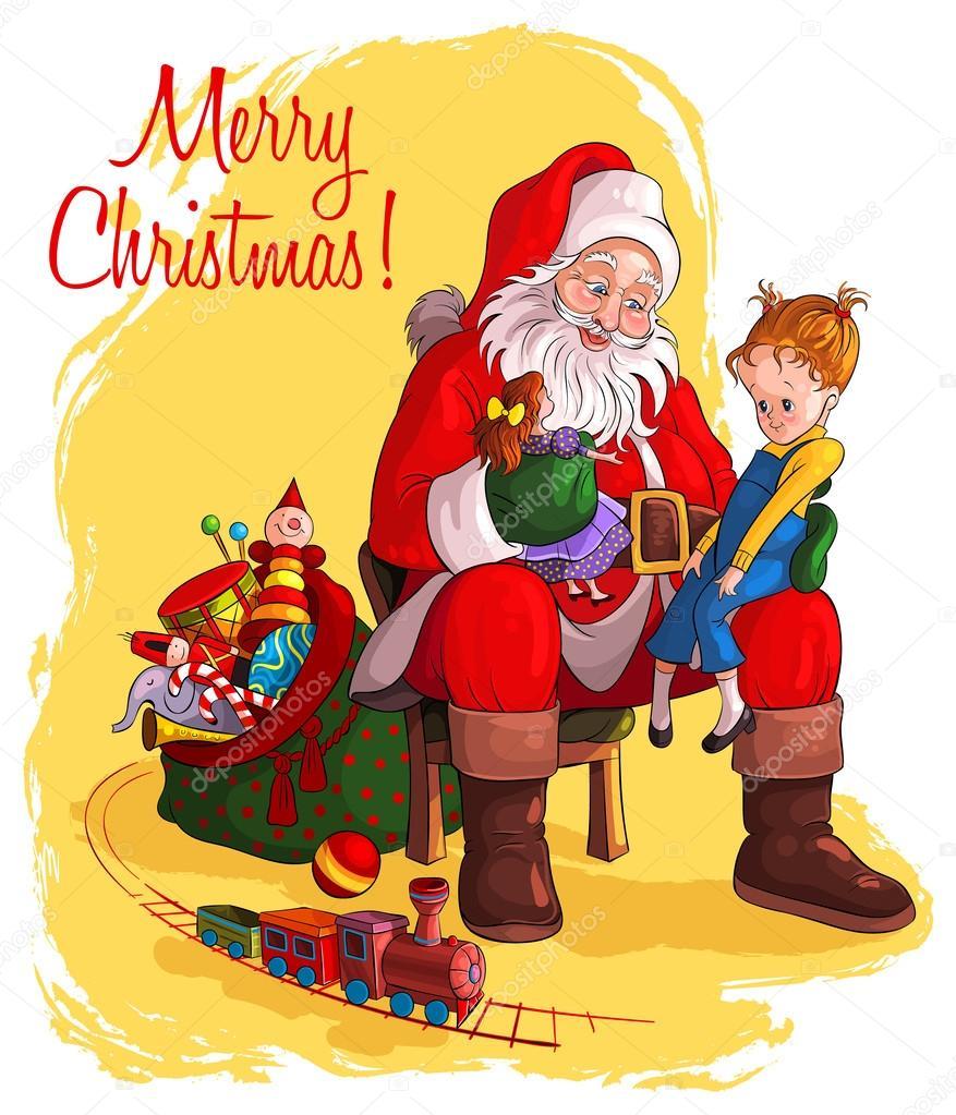 Weihnachtsmann sitzt im Stuhl mit Sack Geschenk geben ...