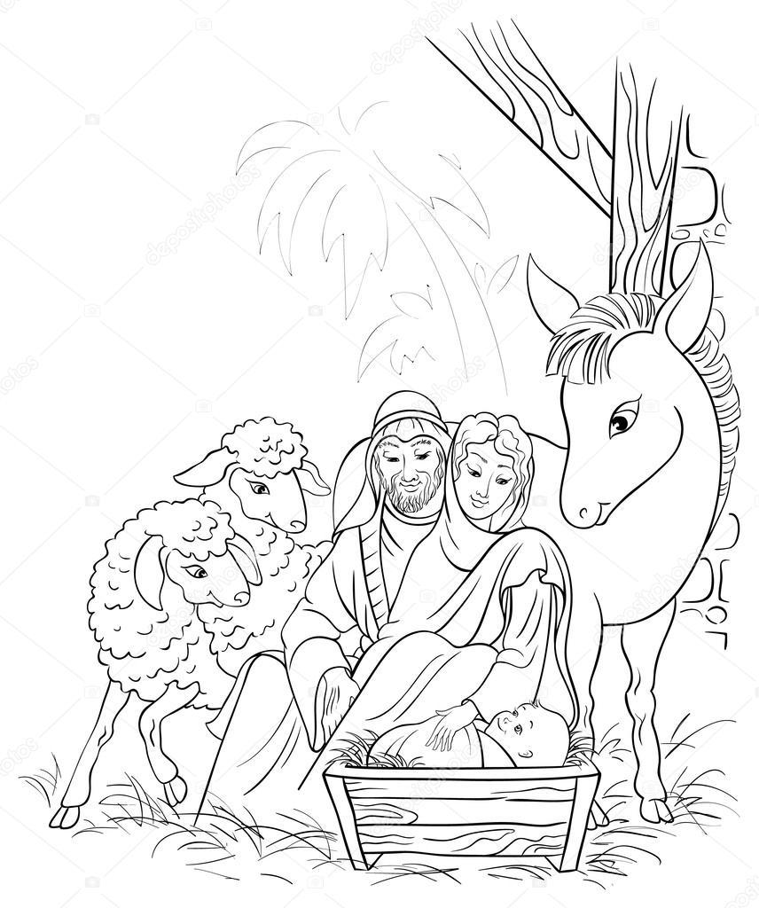 Coloriage Sainte Famille.Illustration Noir Et Blanche De La Creche De Noel Avec La Sainte