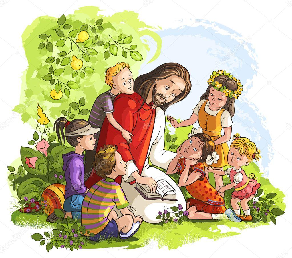 Animado Niños Leyendo La Biblia Ilustración De Vector De Jesús