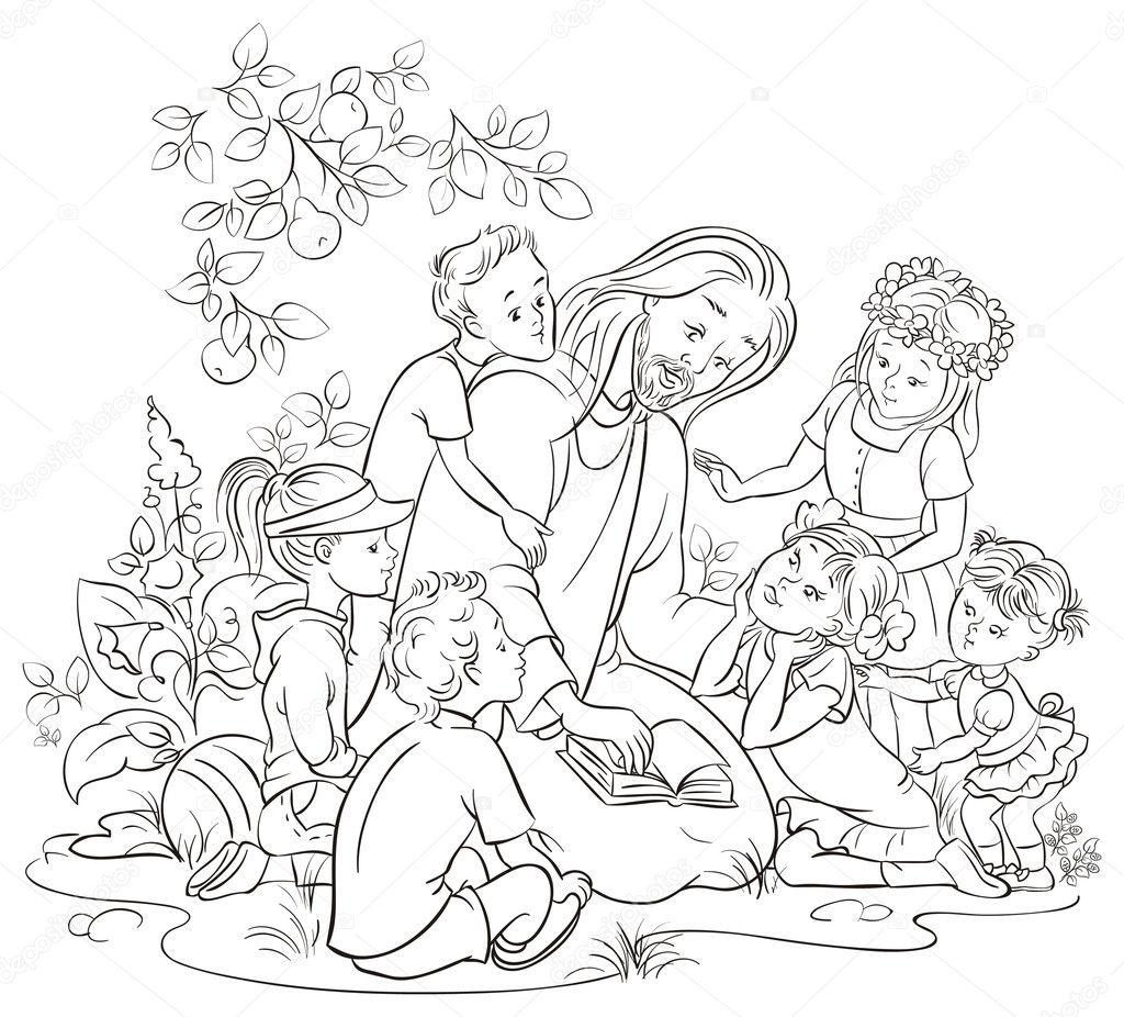 Färbung Seite Vektor Jesus das Lesen der Bibel mit Kindern ...
