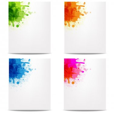 4 Banners With Color Blob, Isolated On White Background, Vector Illustration clip art vector