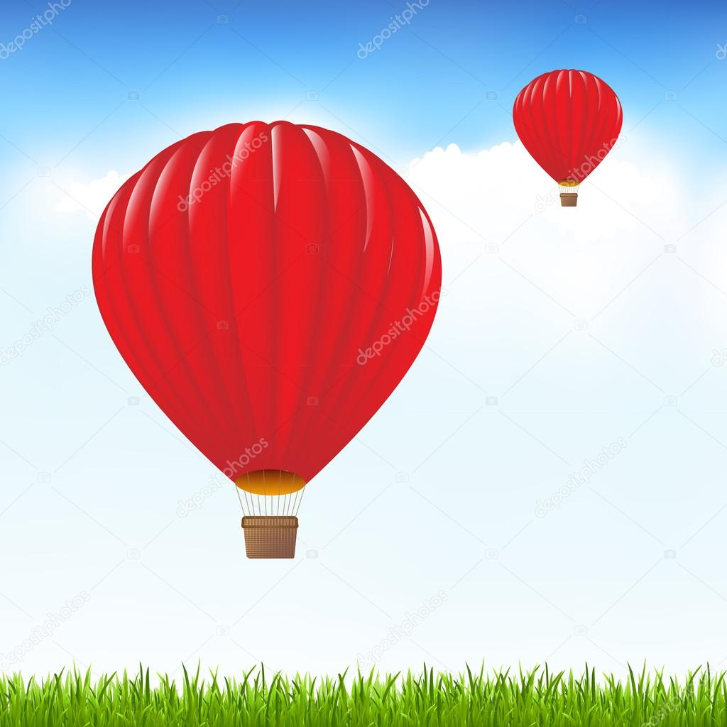 Red Hot Air Balloons Floating In Sky