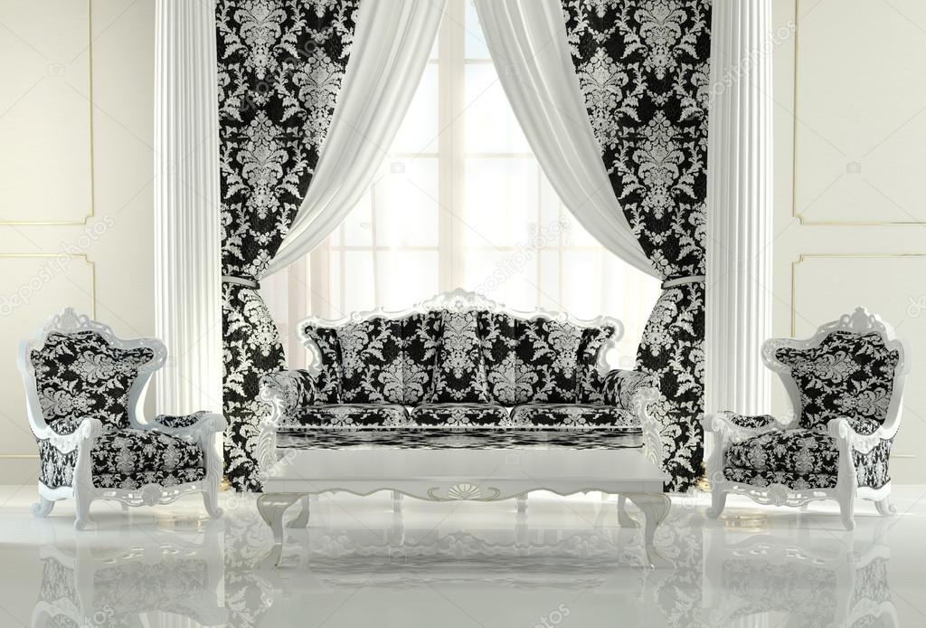 modern meubilair in een barokke design interieur appartement ...