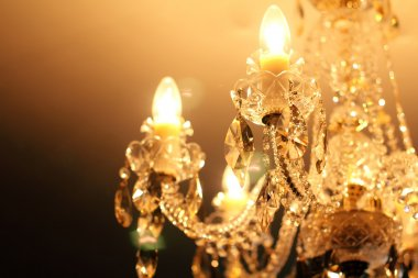 Vintage crystal lamp details, candle light